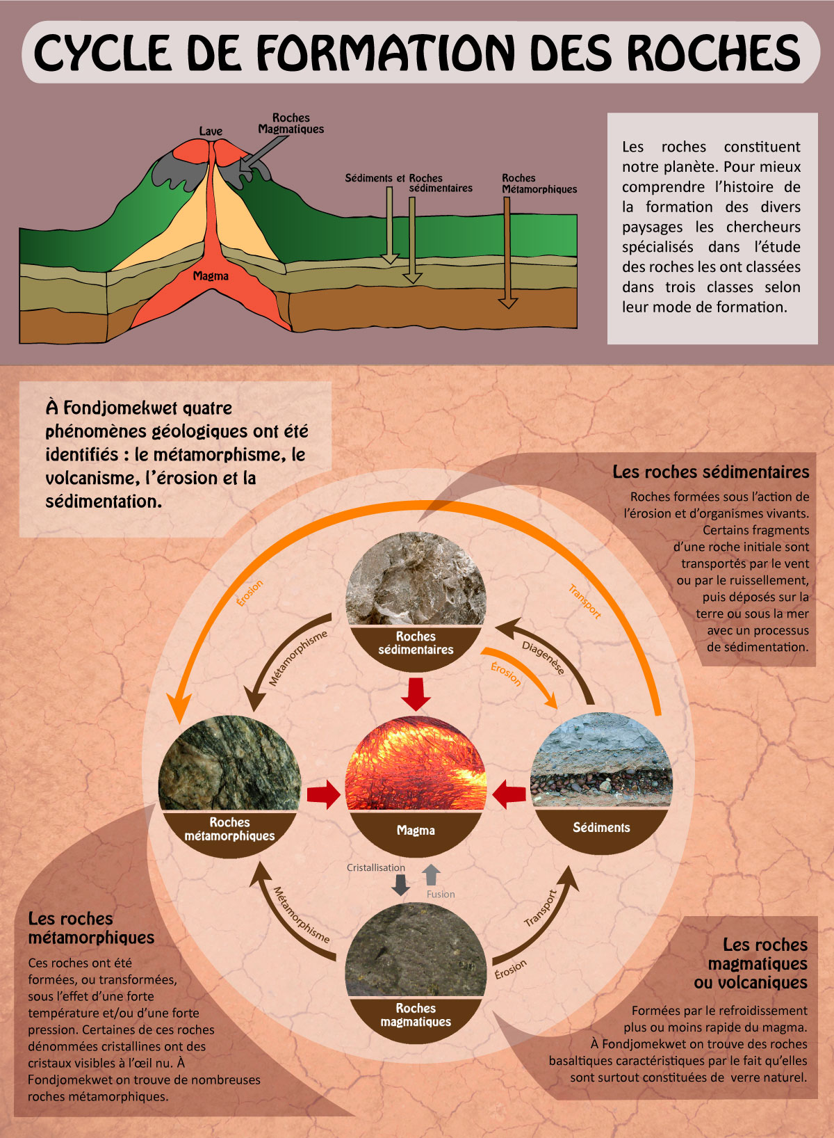 infographie cycle de formation des roches