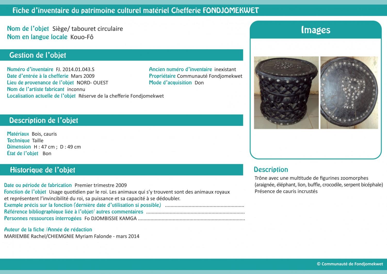 Fiche d'inventaire, collection d'objets de Fondkomekwet